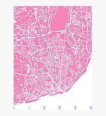 Lisbon map pink Photographic Print