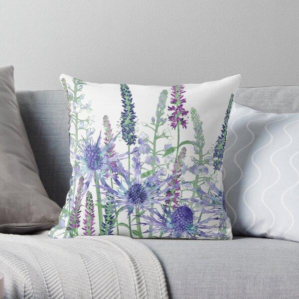 Sea Holly & Veronica Flowers Throw Pillow