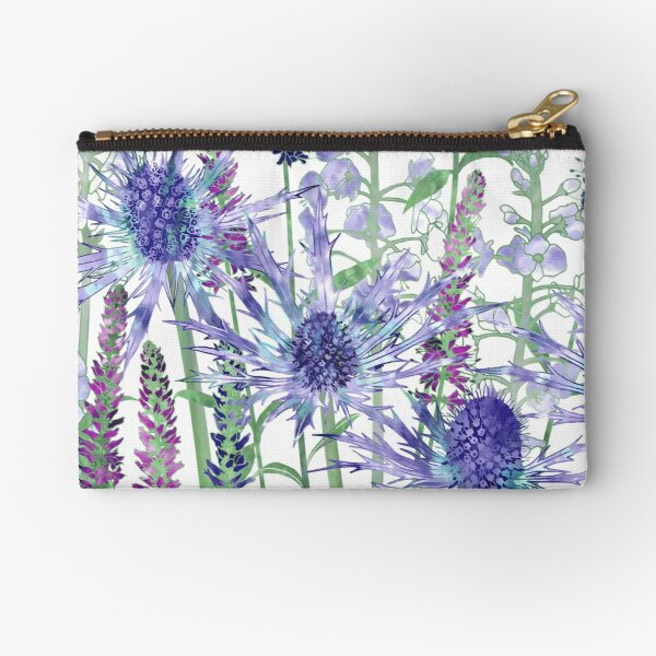 Sea Holly & Veronica Flowers Zipper Pouch