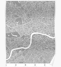 London map grey Poster