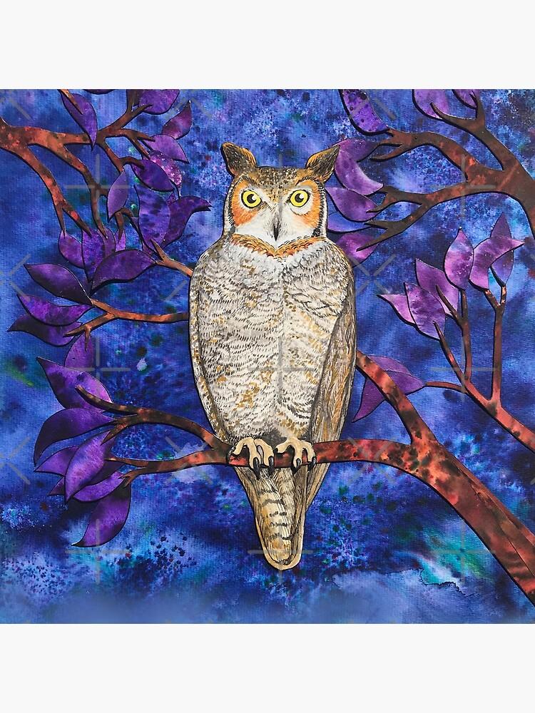 Autumn Owl in the Plum Tree  by junebugscorner