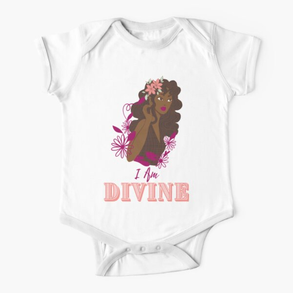 I Am Divine - Peach Short Sleeve Baby One-Piece