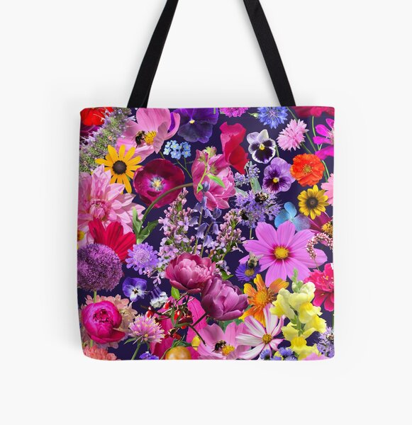 Dreaming up a Garden in Navy All Over Print Tote Bag
