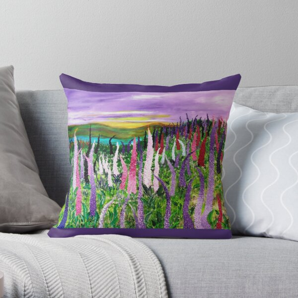 Fields with lupines. Throw Pillow