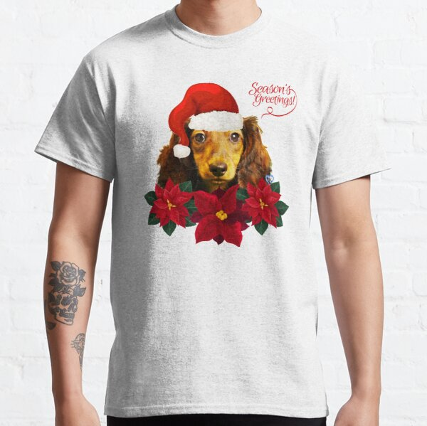 Christmas Live Dachie Red Santa Hat Poinsettias dtt Classic T-Shirt