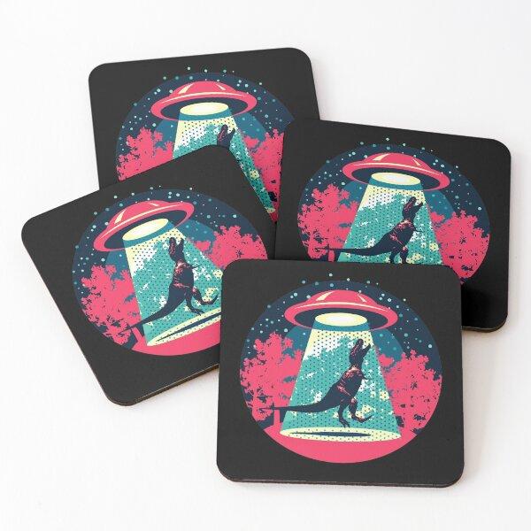 Beware UFO, T. Rex / Red Coasters (Set of 4)