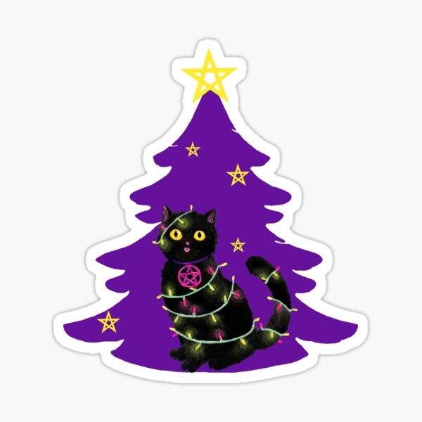 Katze Weihnachten Lichterkette mit lilanem Weihnachtsbaum Sticker