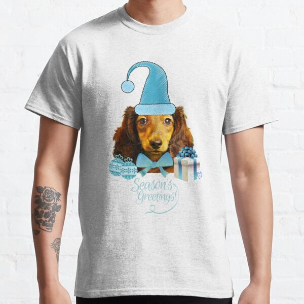 Light Blue Tall Santa Hat Live Dachie-dtt  Classic T-Shirt