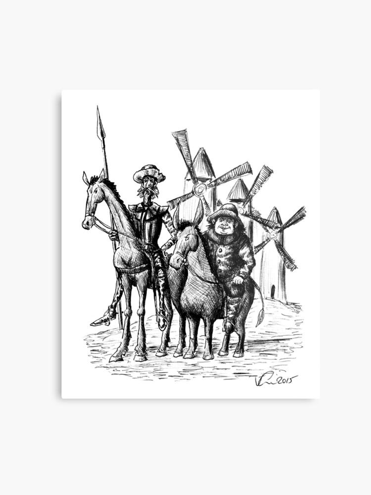 Don Quijote Und Sancho Panza Tuschezeichnung Metalldruck Von