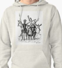 Don Quixote and Sancho Panza ink drawing Pullover Hoodie