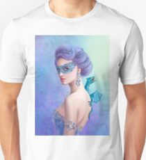 Fantasy winter woman, beautiful snow queen in mask with blue dragon Unisex T-Shirt