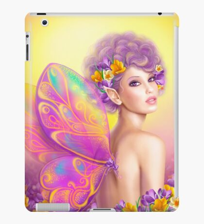 Beautiful girl fairy butterfly at pink and purple flower background iPad Case/Skin