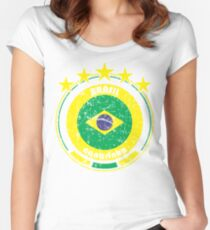 World Cup Football 1/8 - Team Brasil (distressed) Women's Fitted Scoop T-Shirt
