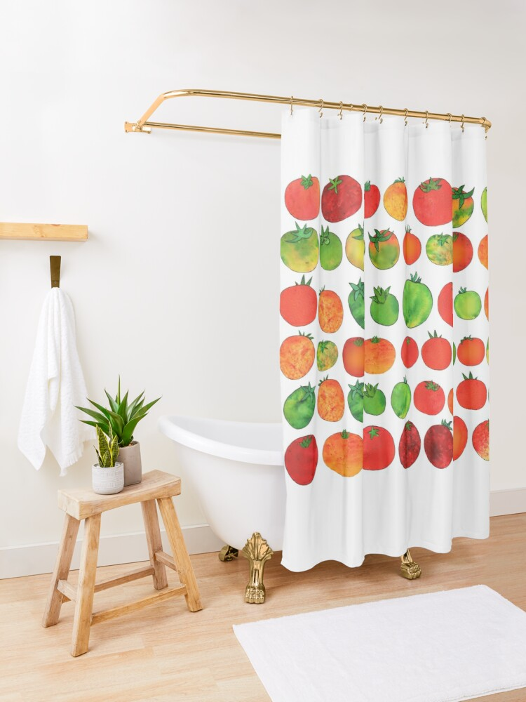 Alternate view of Enchanted Tomatoes Shower Curtain