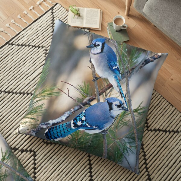 Winter Blue Jays  Floor Pillow