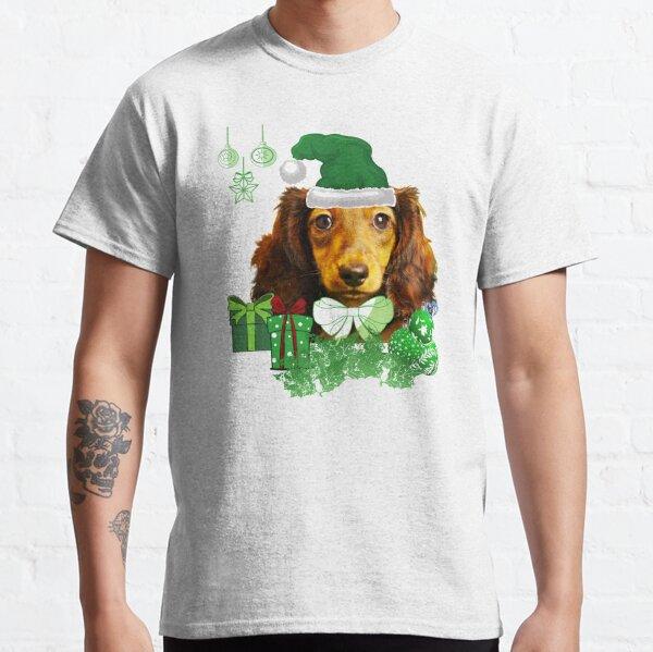 Christmas Dark Green Santa Hat Live Dachie-dtt Classic T-Shirt