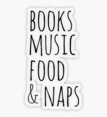 Pegatina transparente libros, música, comida y siestas