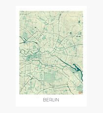 Berlin Map Blue Vintage Photographic Print