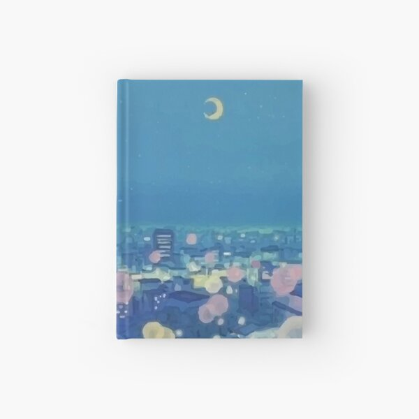 Sailor Moon Background City at Night Aesthetic Hardcover Journal