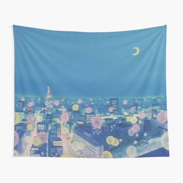 Sailor Moon Background City at Night Aesthetic Tapestry