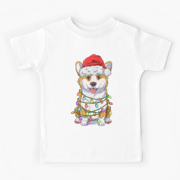 Funny Corgi Christmas Tree Lights Gift Santa Hat Dog Lover Kids T-Shirt