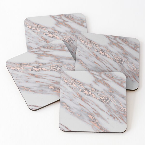 Rose Gold metallic pink intrusions on gray white Marble texture Pastel grey Background HD High Quality Online Store Coasters (Set of 4)