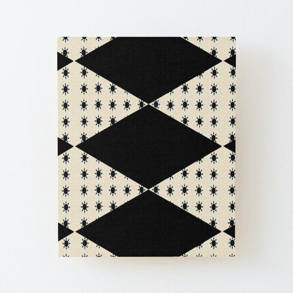 Black Diamond Pattern on Ivory Background Wood Mounted Print