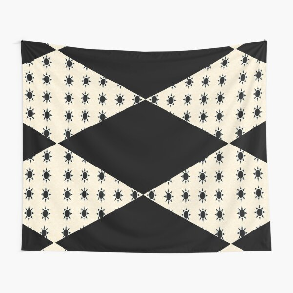 Black Diamond Pattern on Ivory Background Tapestry