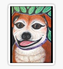 Gracie May Staffy Dog under the lime tree Sticker