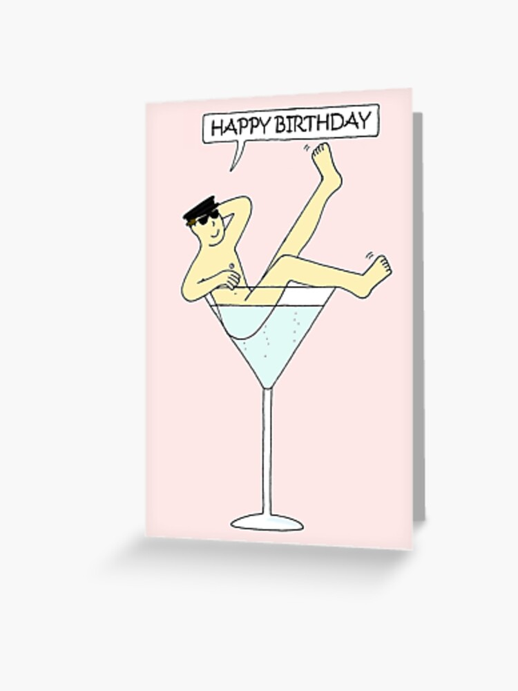 Man In Over Sized Cocktail Glass Happy Birthday Cartoon Greeting Card By Katetaylor Redbubble