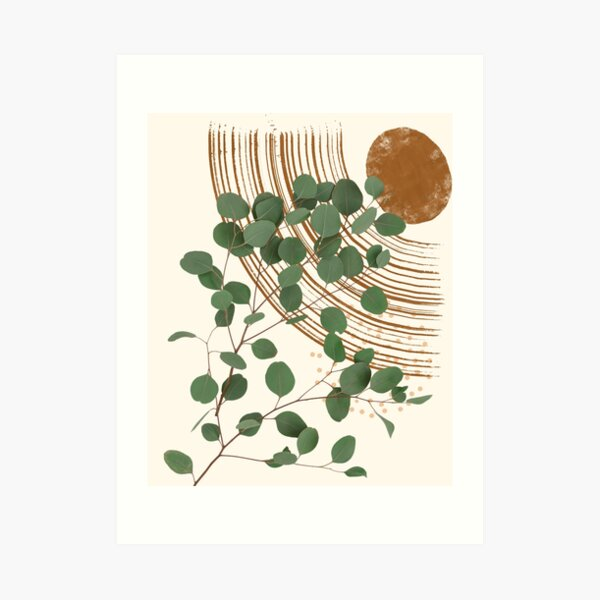 Eucalyptus Branch Abstract Collage Tropical Boho Minimalist Art with warm earthy tones and pastel colors with solid and soft gradient shapes III Art Print