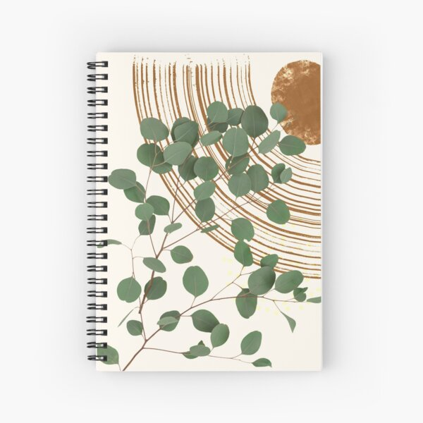 Eucalyptus Branch Abstract Collage Tropical Boho Minimalist Art with warm earthy tones and pastel colors with solid and soft gradient shapes III Spiral Notebook