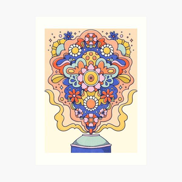Floral Spray Paint Art Print