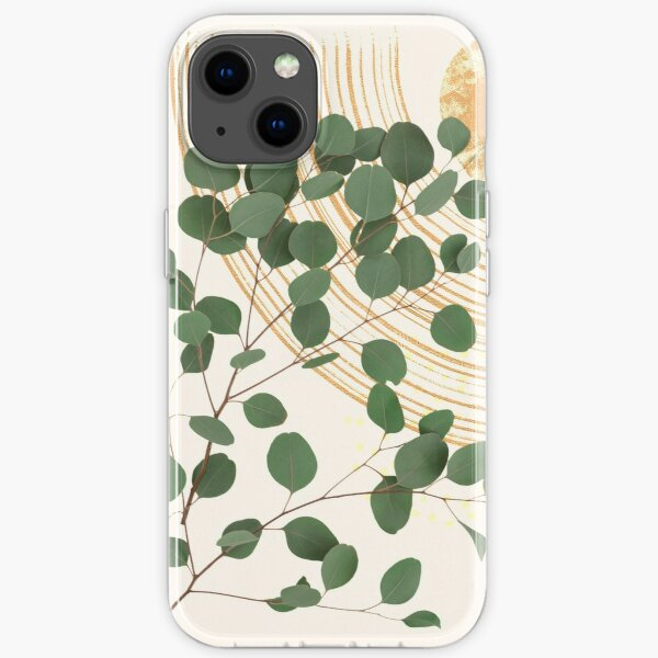 Eucalyptus Branch Abstract Collage Tropical Boho Minimalist Art with warm earthy tones and pastel colors with solid and soft gradient shapes IV iPhone Soft Case