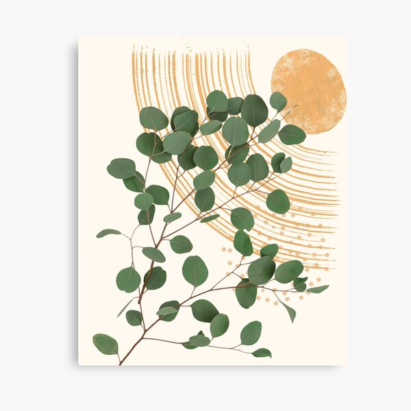 Eucalyptus Branch Abstract Collage Tropical Boho Minimalist Art with warm earthy tones and pastel colors with solid and soft gradient shapes IV Canvas Print