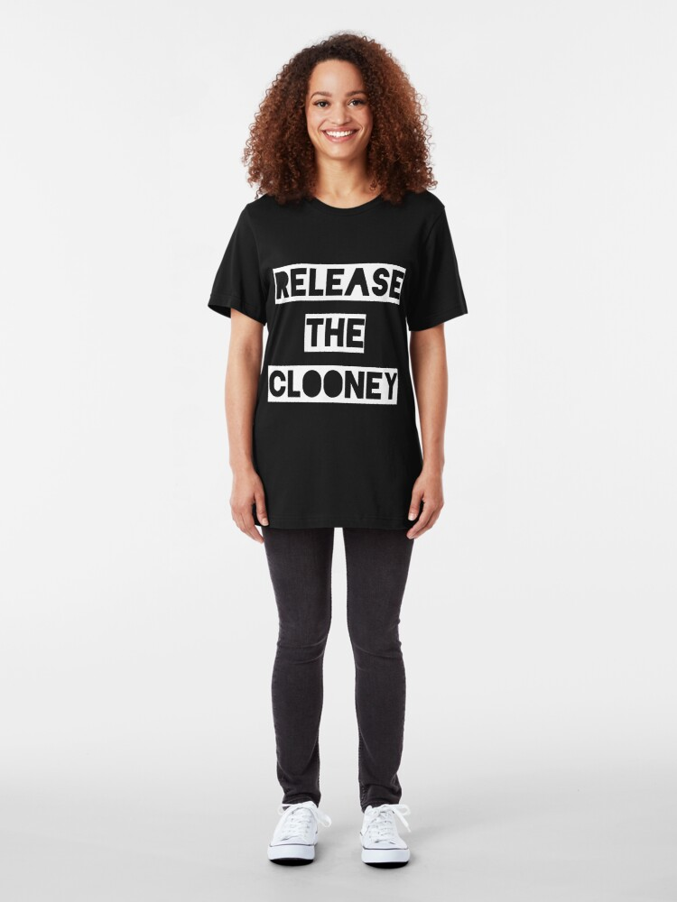 Alternate view of Release the Clooney (White). Slim Fit T-Shirt