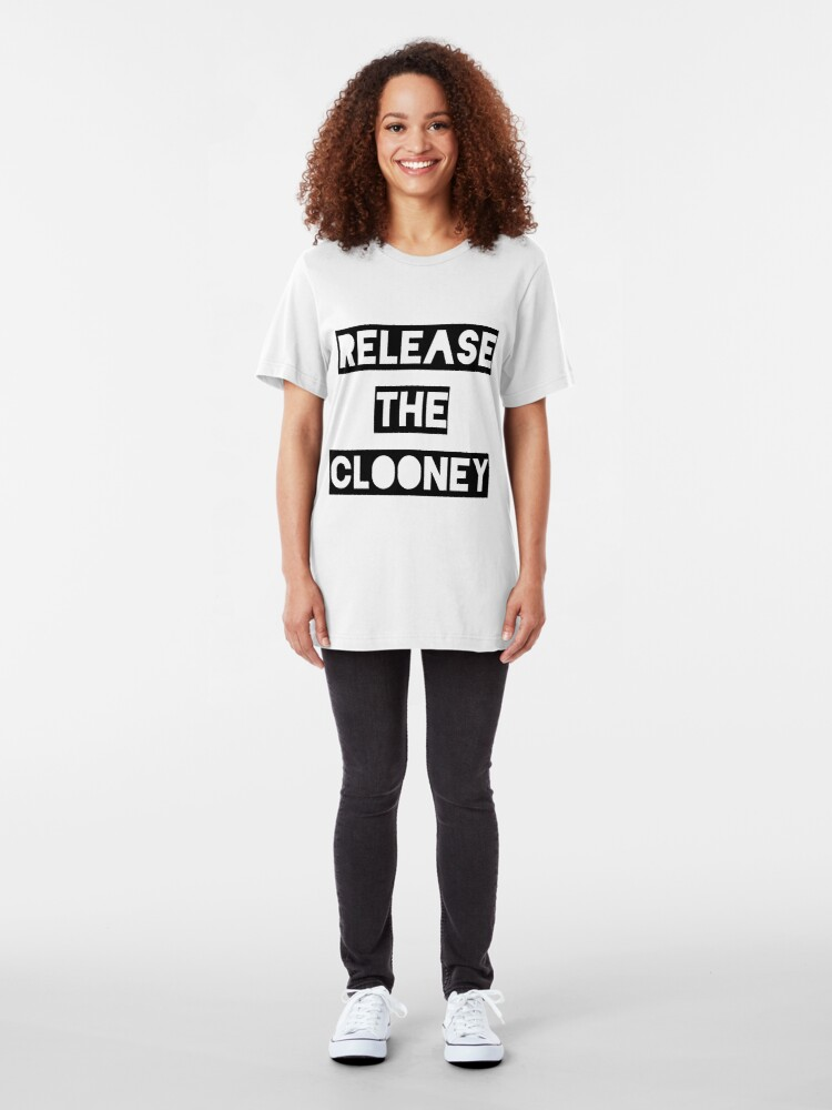 Alternate view of Release the Clooney (Black). Slim Fit T-Shirt