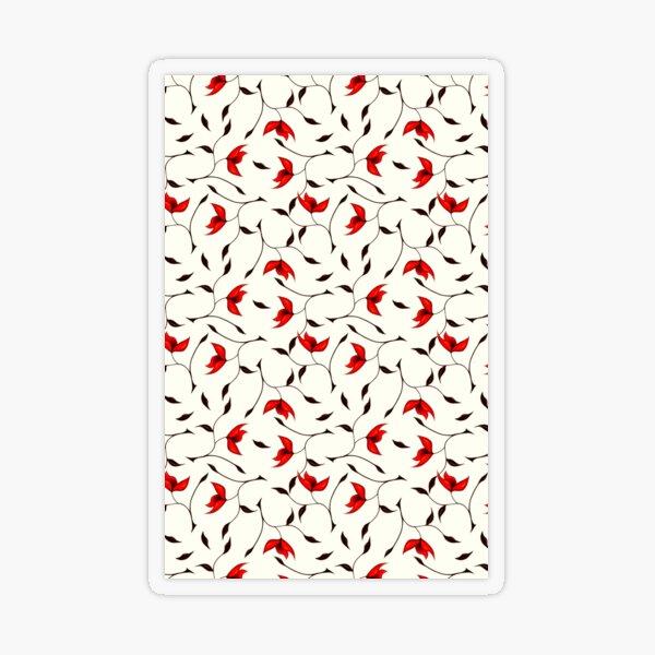 Delicate Red Flower Pattern Transparent Sticker