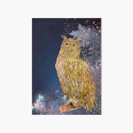 Christmas owl greeting card Art Board Print