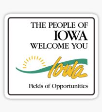 The People of Iowa Welcome You, Road Sign, USA Sticker