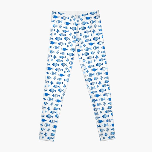 Blue gouache fishes Leggings