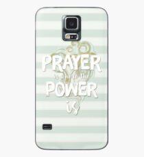 Pastell Stripy Blau und Creme Leistungsstarke Gebet Zitat Hülle & Skin für Samsung Galaxy
