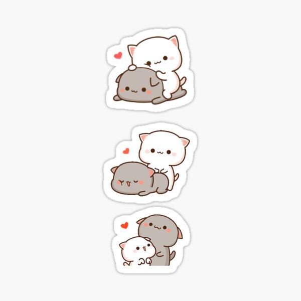 Peach and Goma cat Sticker
