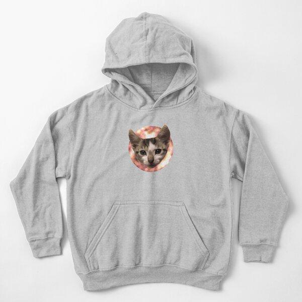 Katzenkonterfei mit rundem Hintergrund Kinder Hoodie