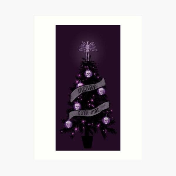 Merry gothic Christmas tree Art Print