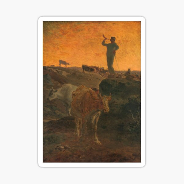 Calling the Cows Home by Jean-Francois Millet, 1872   Sticker