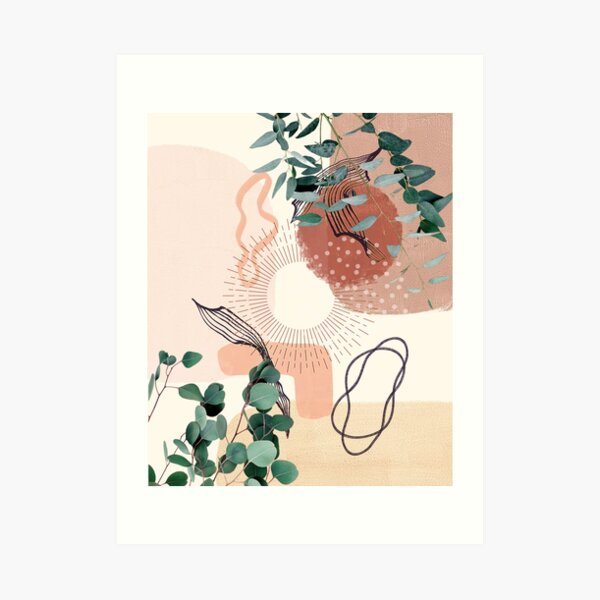 Eucalyptus Branch Abstract Tropical Boho Minimalist Art with warm earthy tones and pastel colors with solid and soft gradient shapes VI Art Print