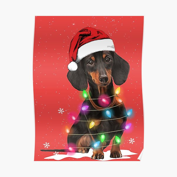 Dachshund Christmas Lights With Snow Sweater Poster