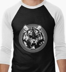 Angry Feroce Tiger Aggressive front face big cat t shirt sticker pencil hoodie Men's Baseball ¾ T-Shirt