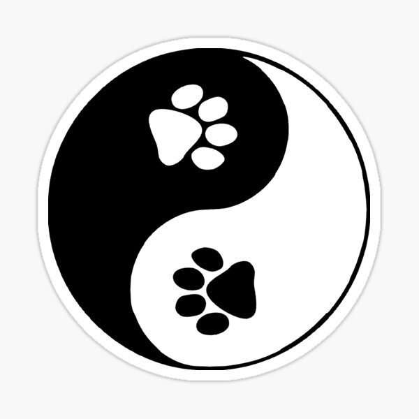 Doggy Paw Prints Yin Yang Symbol Sticker